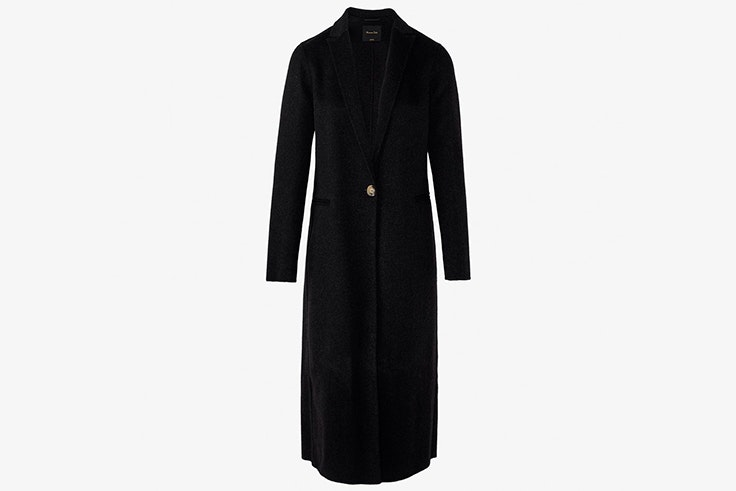 abrigo largo gris marengo detalle botón massimo dutti