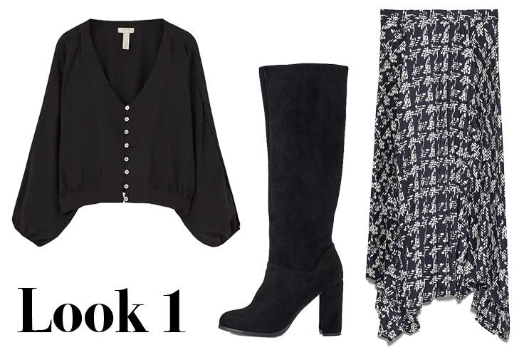 Blusa negra con detalle de botones a contraste de Pull & Bear Botas altas de ante en color negro de Marypaz Falda estampada asimétrica de Zara