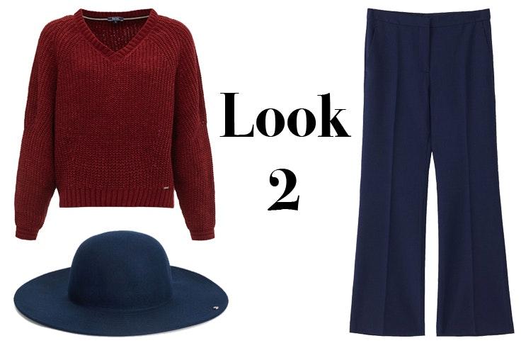 Jersey de pico en color granate de Salsa Sombrero azul marino de Parfois Pantalón largo de lana en azul marino de Massimo Dutti