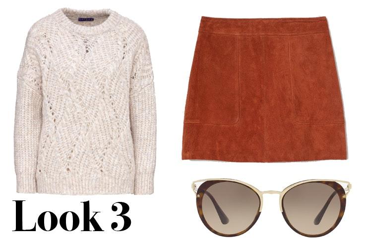 Jersey beige de punto con calados de C&A Mini falda de ante en color teja de H&M Gafas de sol de Prada disponibles en Sunglass Hut