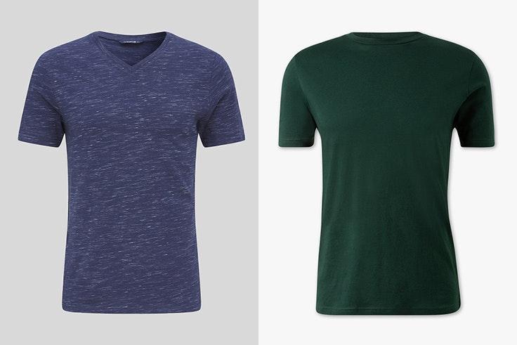 Camiseta de manga corta con escote en color azul Camiseta en color verde Ambas de C&A