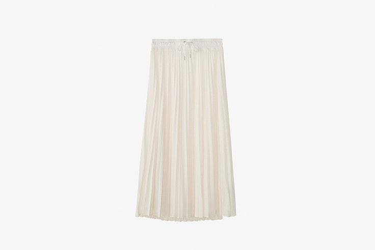 falda midi color crudo plisada de massimo dutti Sara Escudero
