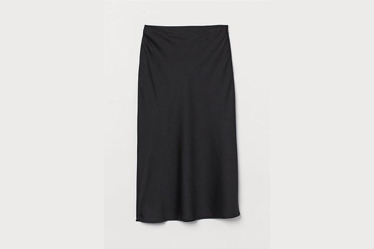 Falda negra de saten de hym total black