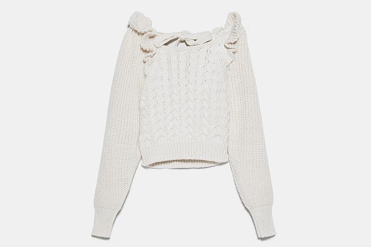 Jersey beige con detalle de volantes de Zara