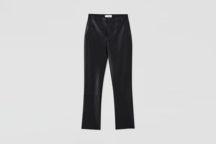 pantalon efecto piel de pull and bear total black