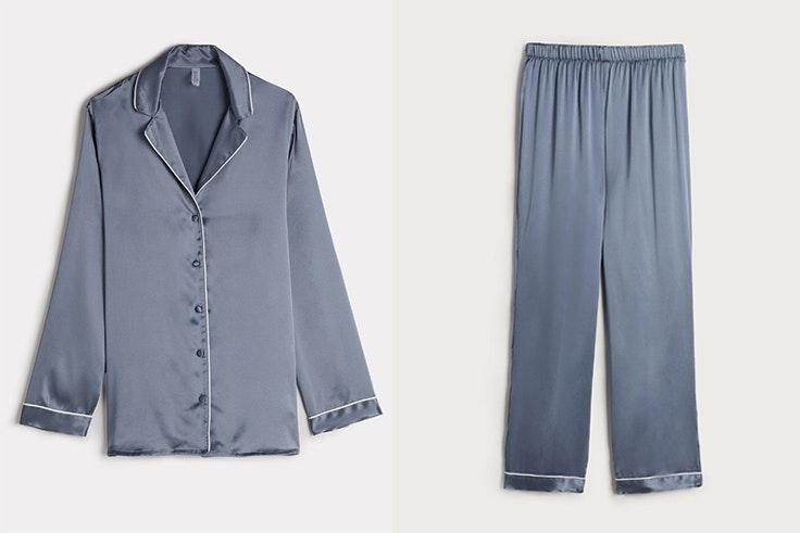 Pijama en color azul de raso y seda de Intimissimi - Camisa: 89,90 € Pantalón: 69,90 €