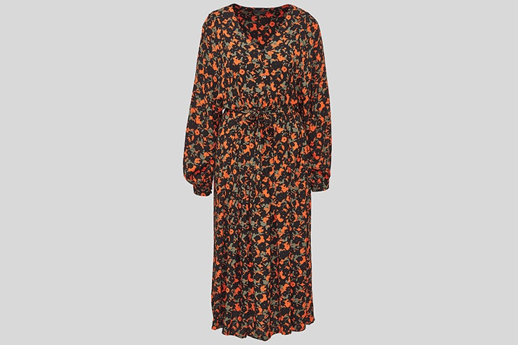 Vestido de invierno con estampado de flores en color naranja de C&A