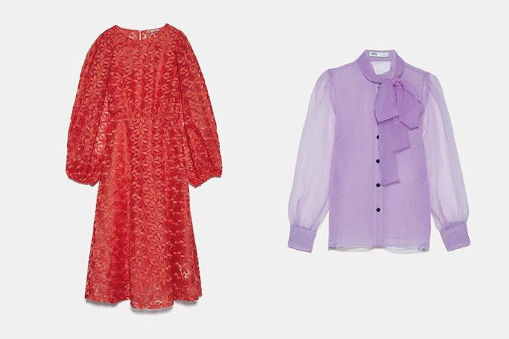 vestido-midi-naranja-bordado-y-blusa-de-organza-lila-con-lazo-de-zara