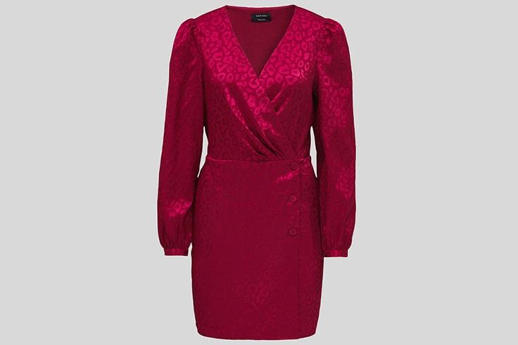 Vestido rosa fucsia cruzado de C&A estampado jacquard c-y-a