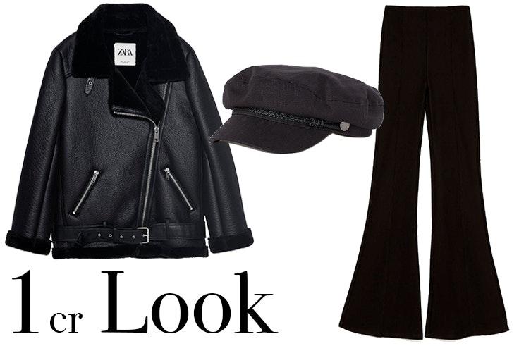 Chaqueta negra de Zara Gorra marinera de H&M Pantalón largo flare en color negro de Bershka