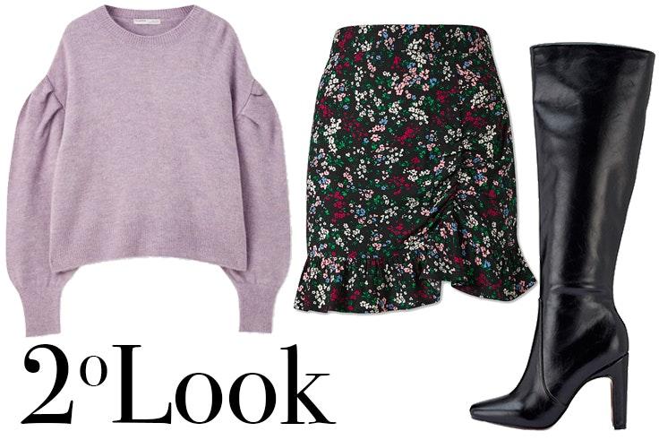 Jersey lila de Pull and Bear Falda con estampado de flores de C&A Botas altas negras de Marypaz