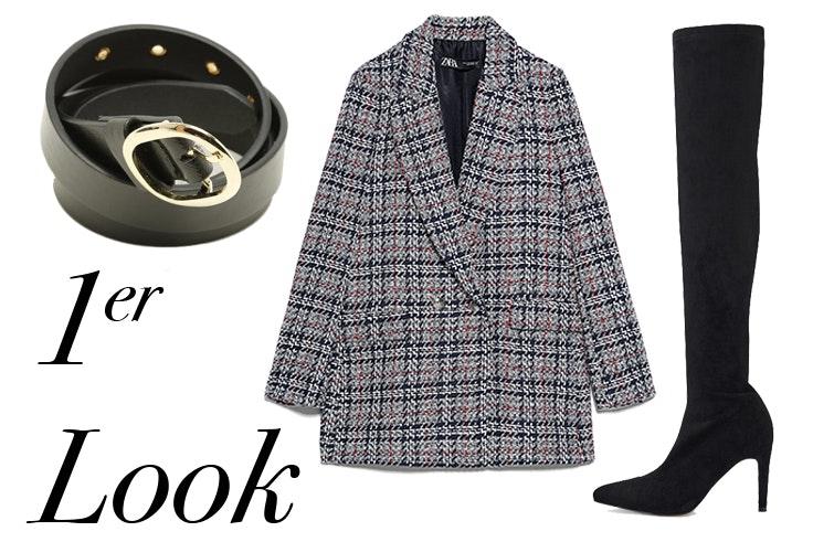 Cinturón en color negro de Misako Chaqueta de tweed de Zara, Botas altas en color negro de Marypaz ana vera looks