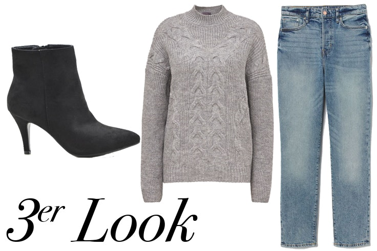Botines en color negro de Tino González: , Jersey gris de C&A: , Pantalón vaquero recto de H&M: