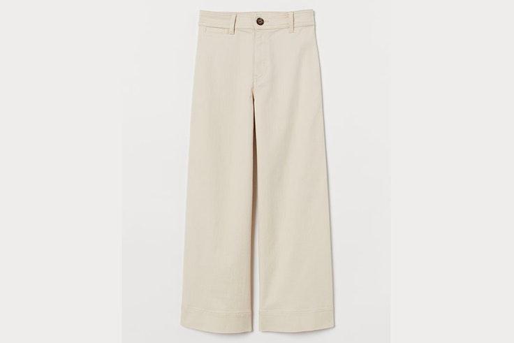 Pantalón ancho de tiro alto en color beige de H&M