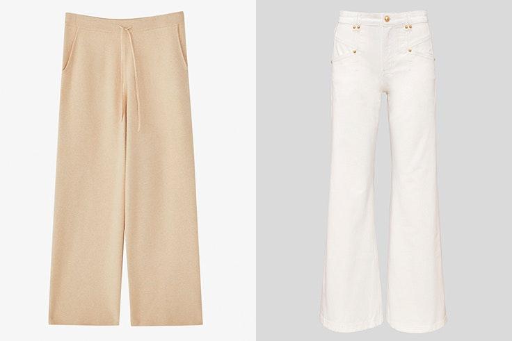 Pantalones de unto en color beige de Massimo Dutti Pantalones blancos acampanados C&A