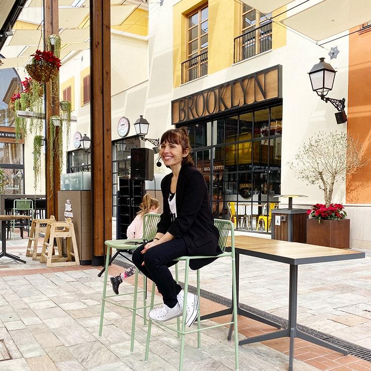 Raquel de MAMIfit en la master class del Patio Gourmet de Plaza Mayor