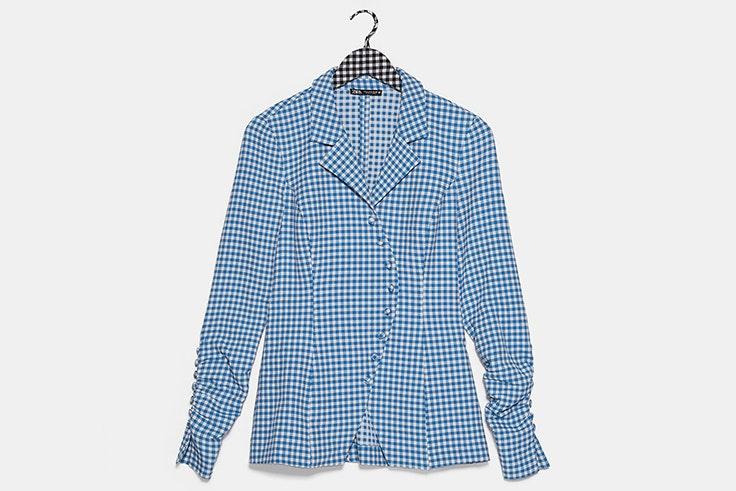 Camisa de cuadros vichy en color azul novedades de zara