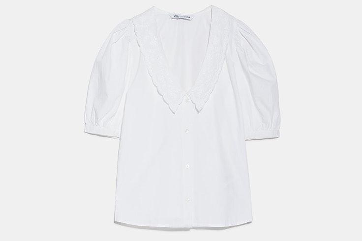 NOVEDADES DE zara nueva colección crossover camisa popelin bordada blanca