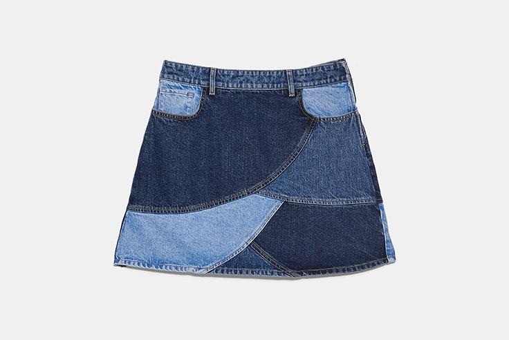 novedades de zara nueva colección crossover falda mini denim patchwork