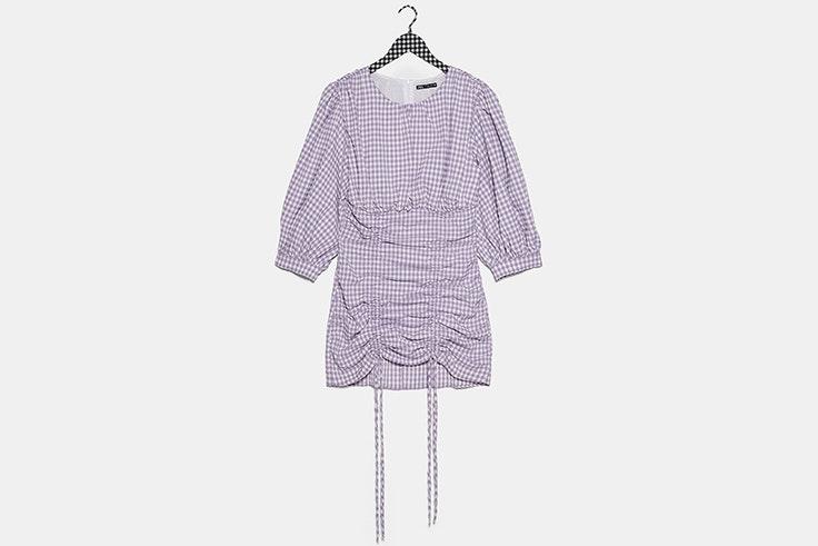 Vestido de cuadros vichy en color lila de zara