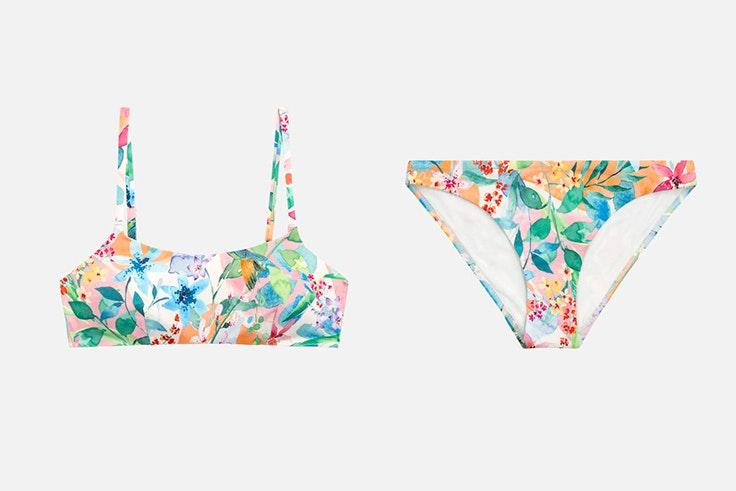 Bikini con estampado de flores en tonos pastel