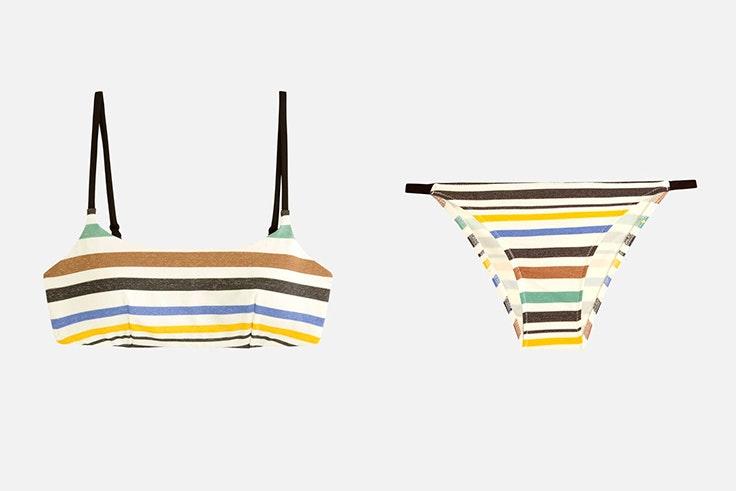 Bikini con estampado de rayas de colores