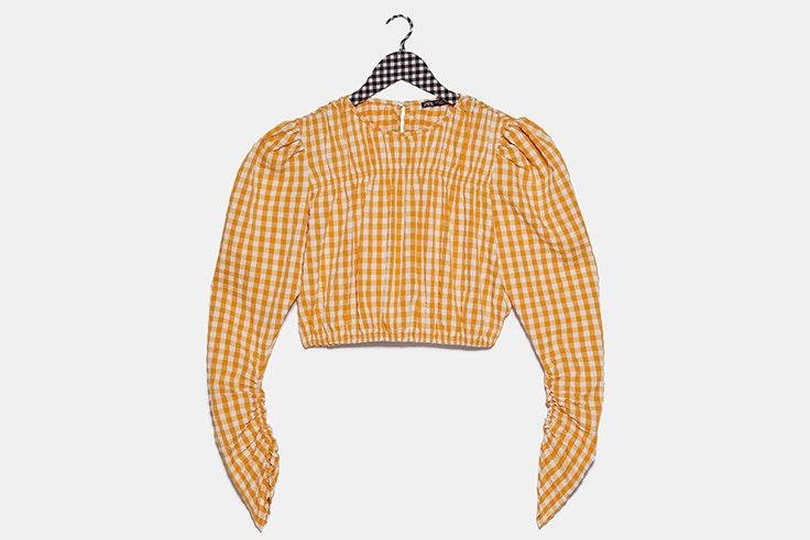 cuerpo Blusa de cuadros vichy en color naranja de Zara