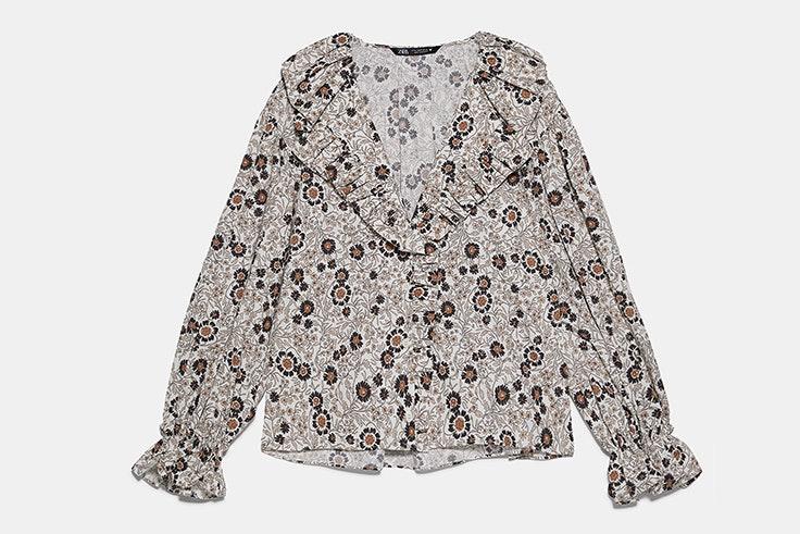 blusa estampado flores zara