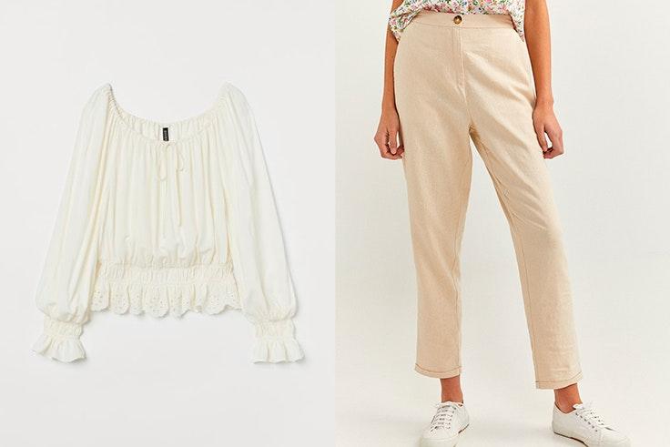 Blusa blanca de H&M Pantalón recto beige de Springfield