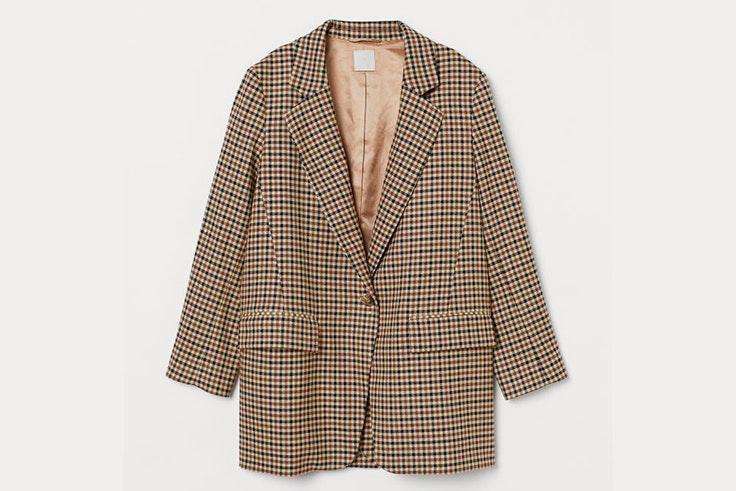 Chaqueta blazer confeccionada en tejido de cuadros de H&M