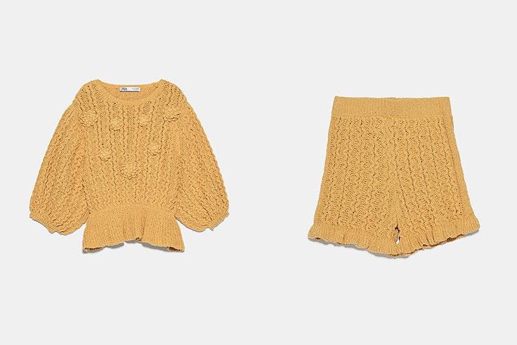 Conjunto de punto en color mostaza de Zara