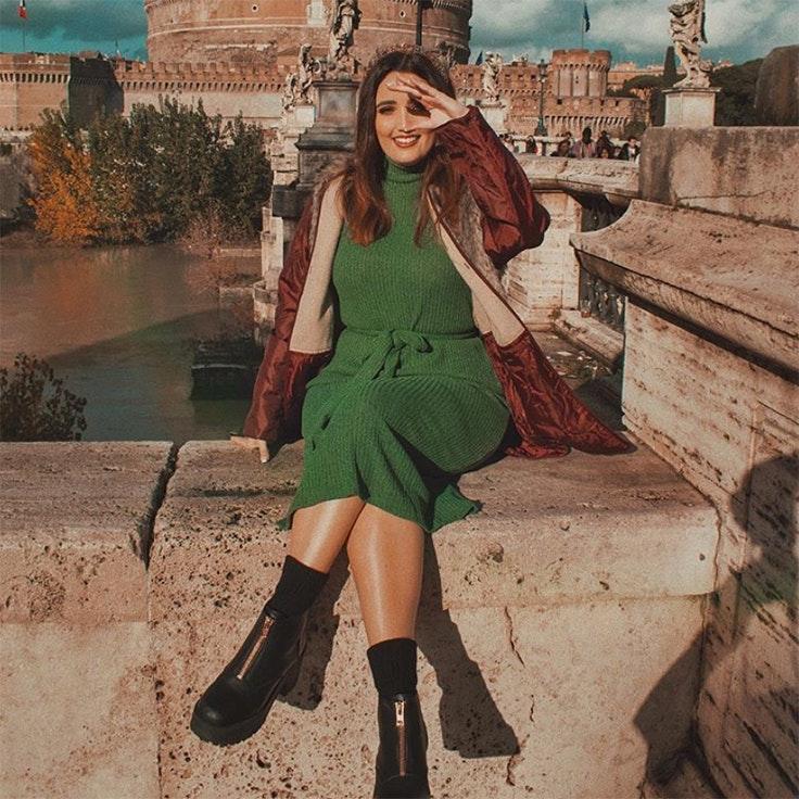 marina llorca estilo vestido de punto verde