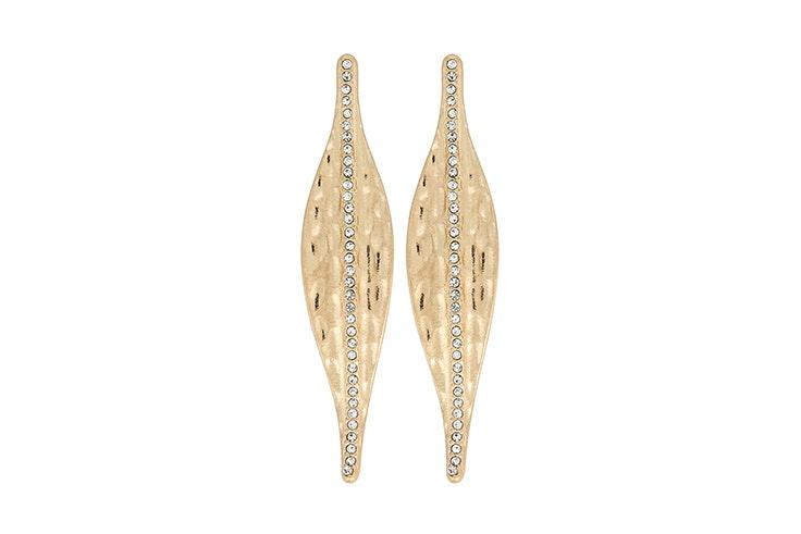 Pendientes dorados con detalle de diamantes de Bijou Brigitte