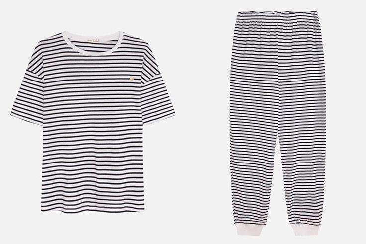 Pijama de algodón con estampado de rayas de Oysho