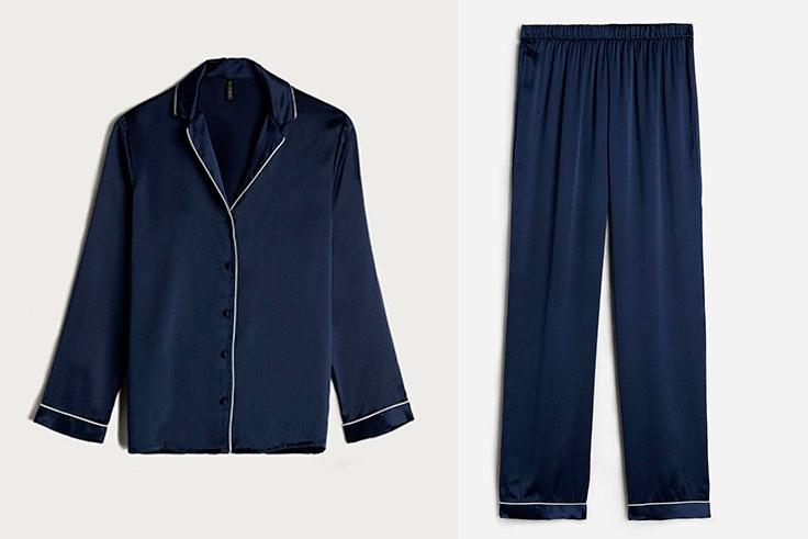 Pijama de raso en azul marino de Intimissimi