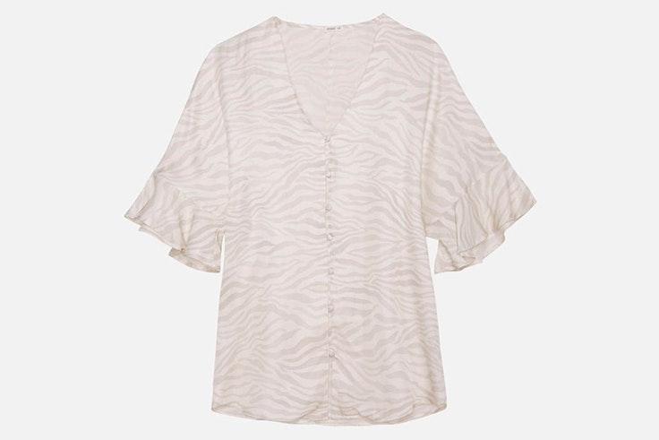 Camisa de satén efecto cebra de Oysho
