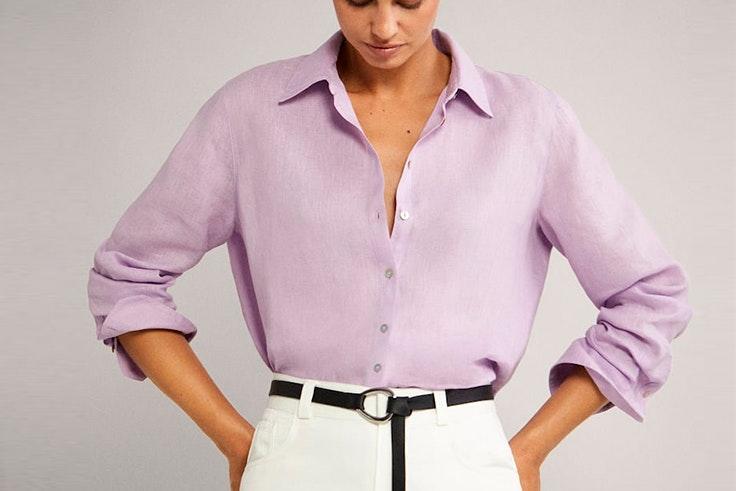 Camisa de lino en color lila de Massimo Dutti  colores pastel