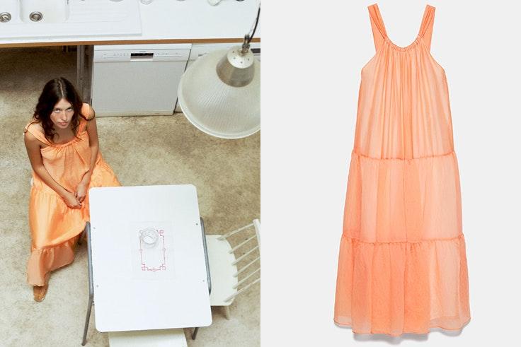 Vestido naranja con volantes de Zara novedades estar en casa
