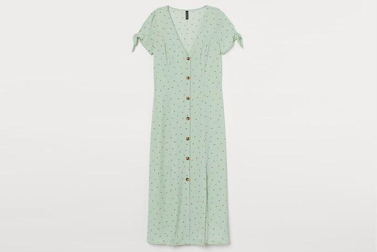 Vestido verde con estampado de flores de H&M  colores pastel