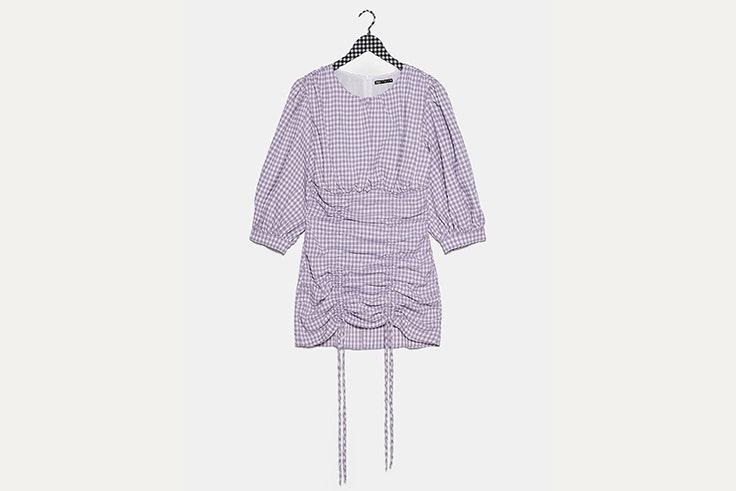 estampados de tendencia Vestido lila de cuadros vichy de Zara
