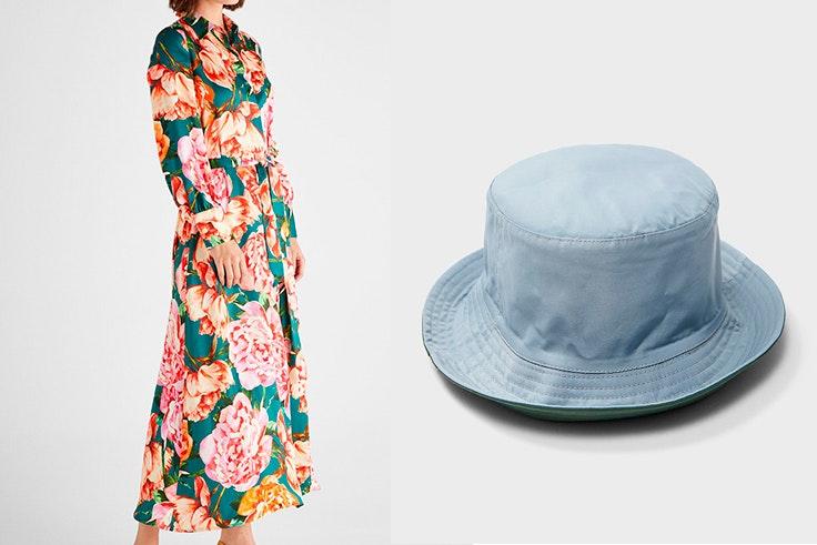 maría fernández rubíes estilo conjuntos premáma Bucket hat reversible de Stradivarius Vestido camisero de flores de Cortefiel