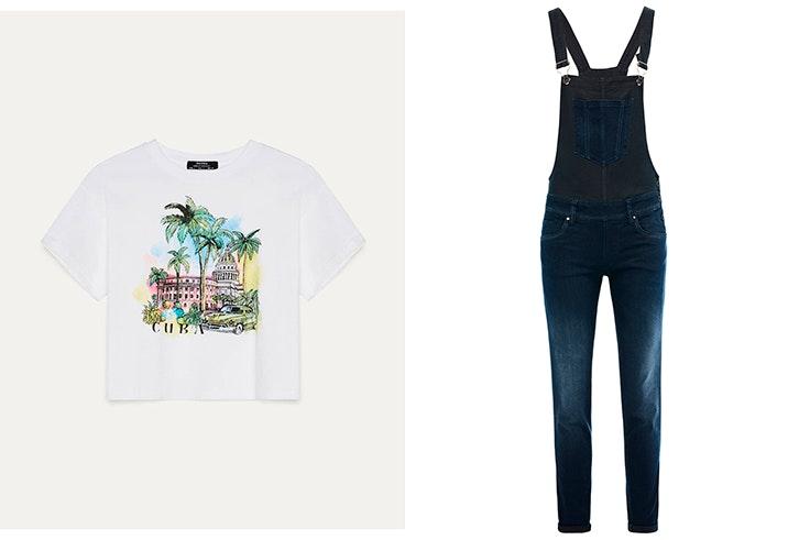 Camiseta estampada de Bershka Peto vaquero de Salsa Jeans