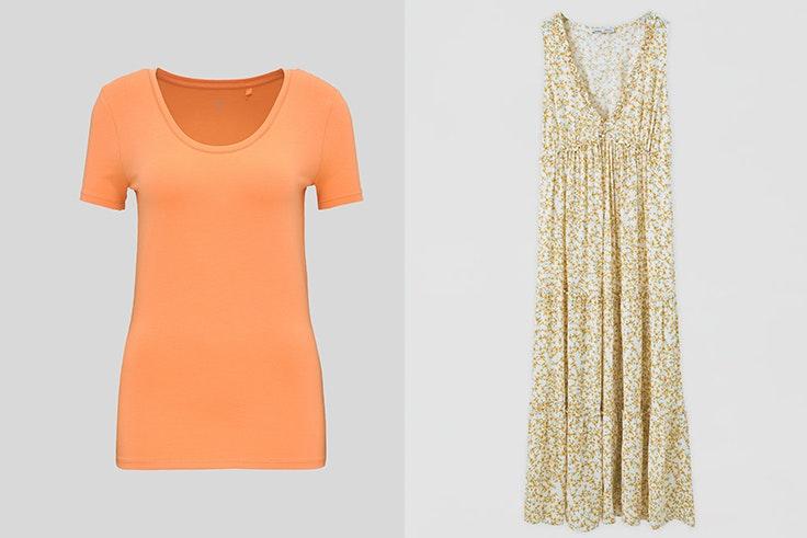 maría fernández rubíes estilo conjuntos looks premáma Camiseta básica en color naranja de C&A Vestido largo de flores de Pull and Bear