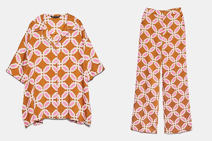Pijama de Zara estampado: Camisa: 25,95 € Pantalón: 29,95 €