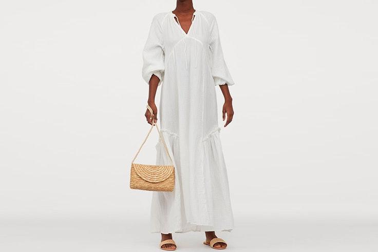 vestidos blancos tendencia hm Vestido largo de algodón