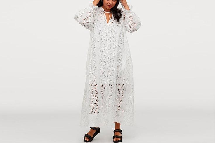 vestidos blancos -tendencia hm Vestido largo con bordados