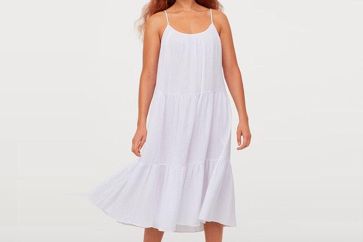 vestidos blancos tendencia hm Vestido de tirantes con efecto arrugado