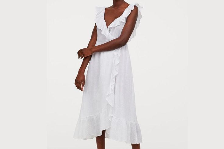 vestidos blancos tendencia hm Vestido midi con volantes