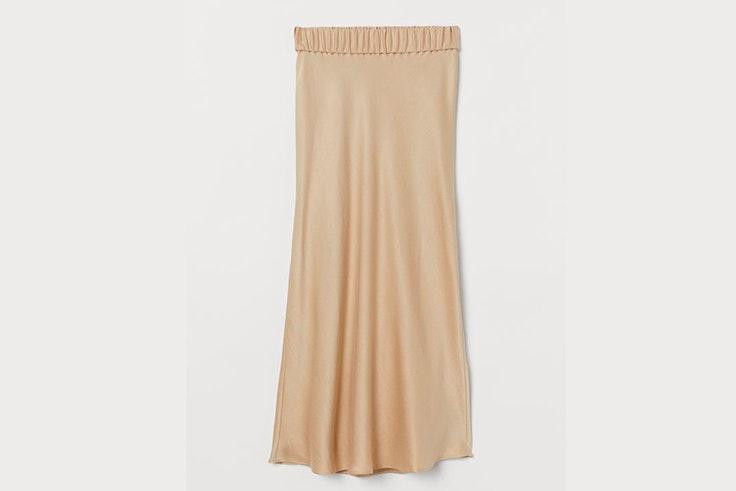 Falda midi en color beige de H&M