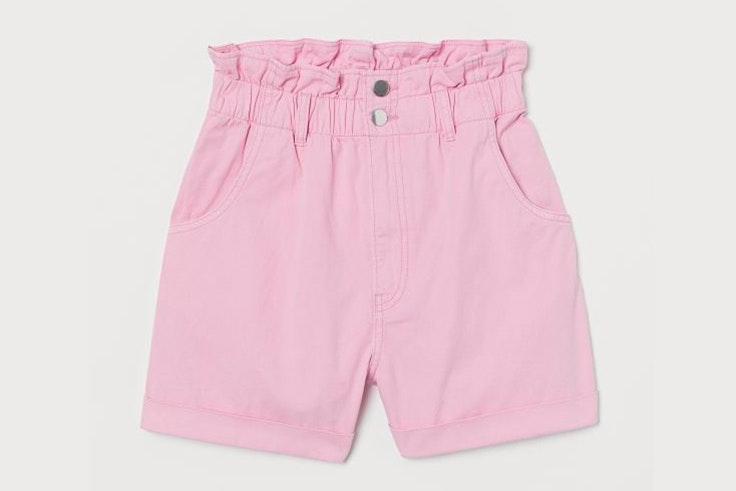 Pantalón corto paper bag en color rosa de H&M